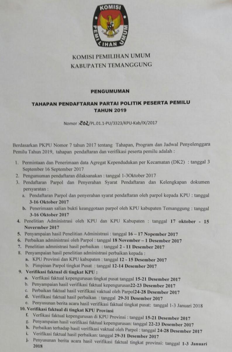 PENGUMUMAN TAHAPAN PENDAFTARAN PARTAI POLITIK PESERTA PEMILU TAHUN 2019