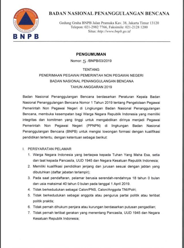 Penerimaan Pegawai Pemerintah Non Pegawai Negeri BAdan Nasional Penanggulangan Bencana Tahun Anggara