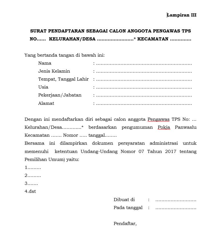 Download Formulir Pendaftaran Anggota TPS Bawaslu Kab. Temanggung