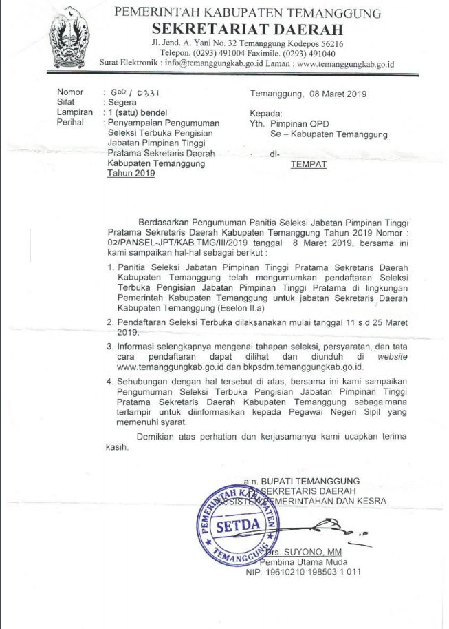 Pengumuman Seleksi Terbuka Pengisian Jabatan Pimpinan Tinggi Pratama Sekretariat Daerah Temanggung